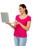 Mid Adult Woman Using Laptop Stock Image
