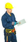 Mid adult worker man with notched Stock Photo