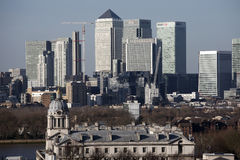 Mid Afternoon view of Canary Wharf London taken from the opposit Stock Photo