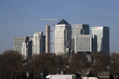 Mid Afternoon view of Canary Wharf London taken from the opposite side of the river Thames Stock Photography