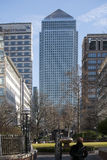 Mid Afternoon view of Canary Wharf London taken from the opposite side of the river Thames Stock Images