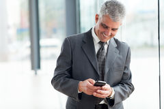 Mid age businessman smart phone Stock Images