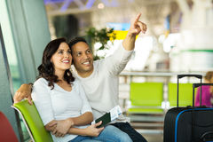 Mid age couple airport Royalty Free Stock Photography