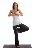 Mid-Age Healthy Looking Female Practicing Yoga Stock Photo