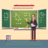 Mid age teacher  giving a trigonometry lecture Royalty Free Stock Image