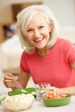Mid age woman eating meal. Mid age women eating meal Stock Images