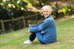 Mid age woman outdoors Royalty Free Stock Photography