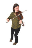 Mid-age woman playing violon Royalty Free Stock Image