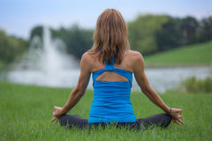 Mid Age Woman Yoga Pose Outdoor Stock Photo