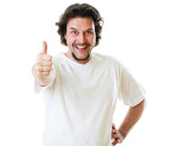 Mid-aged man in white t-shirt showing thumbs up Stock Photo