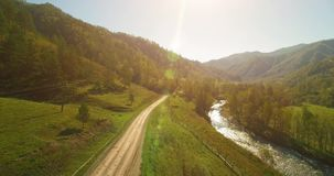 Mid air flight over fresh mountain river and meadow at sunny summer morning. Rural dirt road below. Cows and car. stock video footage