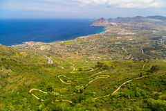 A mid-air view on a winding road in Erice near Trapani Royalty Free Stock Images