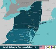 Mid Atlantic States of the United States. Vector map of Mid Atlantic states of the United States with neighboring states Royalty Free Stock Image