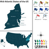 Mid Atlantic States of the United States. Vector set of Mid Atlantic states of the United States with flags and map on white background Stock Images