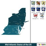 Mid Atlantic States of the United States. Vector set of Mid Atlantic states of the United States with flags and map on white background Stock Photos