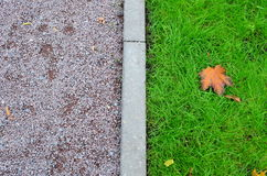 In mid-autumn. Green lawn, park lane and fallen maple leaf. Curbstone divides the composition in half Stock Photos