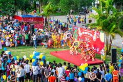 Mid-Autumn activities of youths in Vietnam. Workers and their relatives having entertainment and sport activities inside a 100% FDI company in Hoa Xa Industrial royalty free stock photos