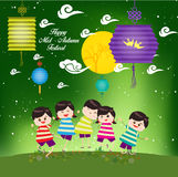 Mid Autumn Festival background with happy kids playing lanterns Stock Photos