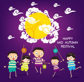 Mid Autumn Festival background with happy kids playing lanterns.  Royalty Free Stock Images