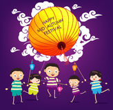 Mid Autumn Festival background with happy kids playing lanterns.  Royalty Free Stock Photo
