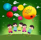 Mid Autumn Festival background with happy kids playing lanterns.  Royalty Free Stock Photography