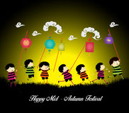 Mid Autumn Festival background with kids playing lanterns Stock Images