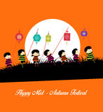 Mid Autumn Festival background with kids playing lanterns Royalty Free Stock Image