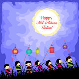 Mid Autumn Festival background with kids playing lanterns Royalty Free Stock Photography
