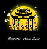 Mid Autumn Festival background with kids playing lanterns Royalty Free Stock Photo