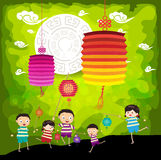 Mid Autumn Festival background with kids playing lanterns.  Royalty Free Stock Image