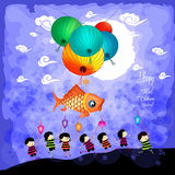 Mid Autumn Festival background with kids playing lanterns.  Stock Photo