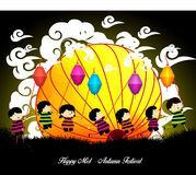 Mid Autumn Festival background with kids playing lanterns.  Royalty Free Stock Photo
