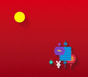 Mid Autumn Festival background with lantern and full moon Royalty Free Stock Photography