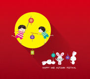 Mid Autumn Festival background with lantern, rabbit and full moon Stock Images