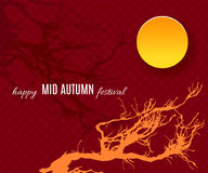 Mid Autumn Festival background with moon and sakura tree silhouette. Happy Mid Autumn Festival background with moon and sakura tree silhouette. Vector Stock Photo