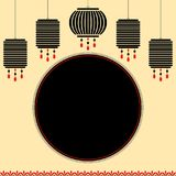 Mid autumn festival banner. With hanging chinese style lanterns Royalty Free Stock Image