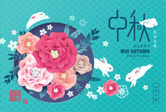 Mid Autumn Festival. Chinese Mid Autumn Festival design. Chinese Calligraphy Translation: Mid Autumn, Small wording: Blissful Harmony up, August 15 in Chinese Stock Image