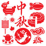 Mid Autumn festival concept icons set Stock Image