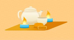 Mid-Autumn Festival design with tea, delicious cookies, burning candles. Mid-Autumn Festival design with tea in a teapot, delicious cookies, burning candles stock illustration