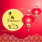 Mid Autumn Festival Full Moon Background. Translation: Doubly Homesick for Our Dear Ones at Each Festive Day Stock Image