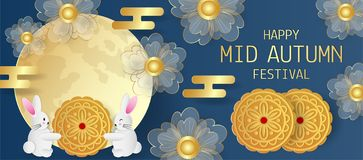Mid autumn festival greeting card with cute rabbit, flowers and moon cake on blue background