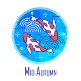 Mid-Autumn Festival icon with two fishes and waves in blue circle. Thin line flat design. Vector. Banner vector illustration