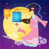 Mid-autumn festival illustration of Chang`e moon goddess,. Bunny, lanter with full moon royalty free illustration