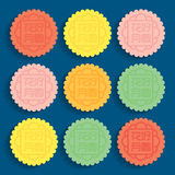 Mid-autumn festival illustration of colourful moon cakes Stock Images