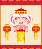 Mid Autumn Festival - koi fish. Card Royalty Free Stock Images