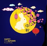 Mid Autumn Festival with Lantern and rabbit Background. Translation: Mid Autumn.  Royalty Free Stock Images
