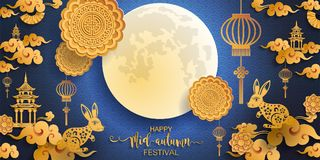 Mid Autumn Festival. Mid Autumn Festival with paper cut art and craft style on color Background vector illustration