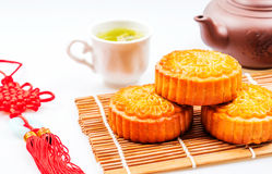 Mid-Autumn Festival moon cake on wooden board Royalty Free Stock Photo