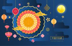 Mid autumn festival. Origami paper, decorative ornament. Lanterns, lotus. Mid autumn festival chinese with a beautiful paper cut on a colored background stock illustration