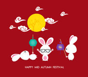 Mid autumn festival rabbit playing with lanterns with chinese Stock Image